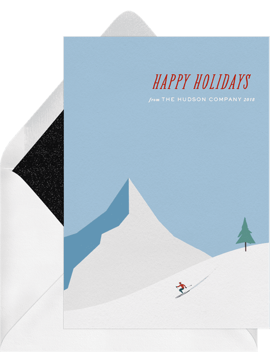 Snowy mountain cards blue