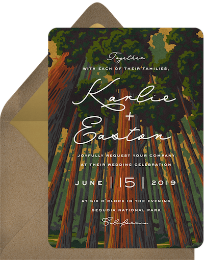 destination wedding ideas: Soaring Sequoias Wedding Invitation