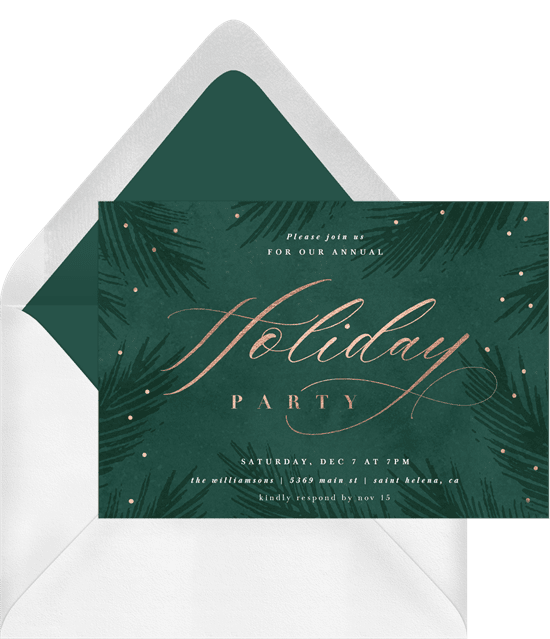 A green and gold Christmas party invitation with soft foliage