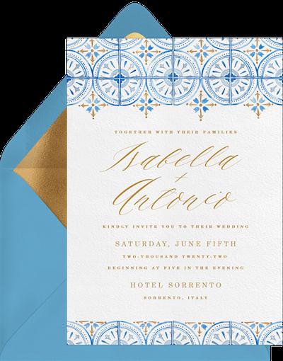 Sorrento Tile Wedding Invitation