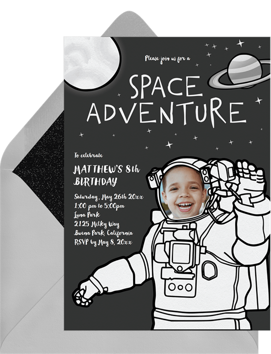 space themed party: space adventure invitation from Greenvelope