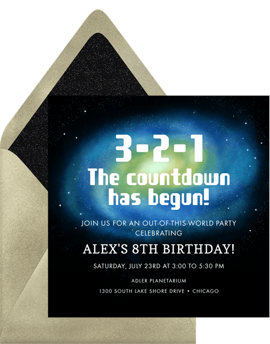 space themed party: space-themed countdown invitation from Greenvelope