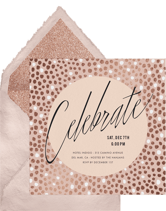 A Christmas party invitation with rose gold accents