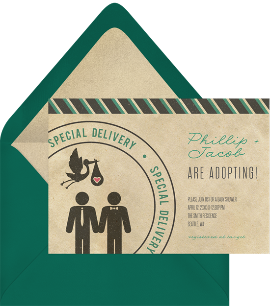 Online baby shower invitations with a silhouette of two same-sex parents and a stork