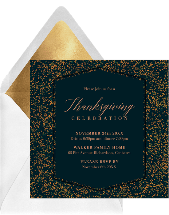 A Thanksgiving invitation with a glittery bokeh border