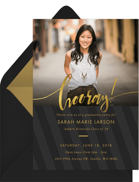 Graduation Invitations: splatter hooray invitations grey