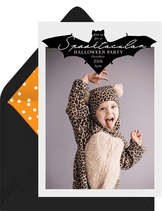 Halloween party photo invitations with an illustrated bat along the top border