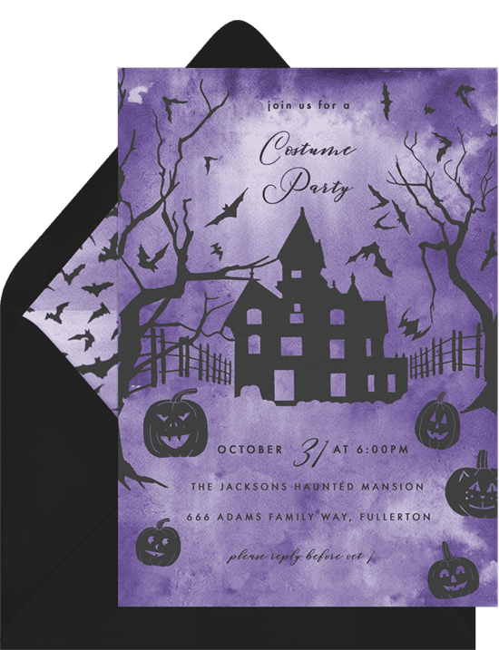 Halloween party invitations with a haunted mansion illustration