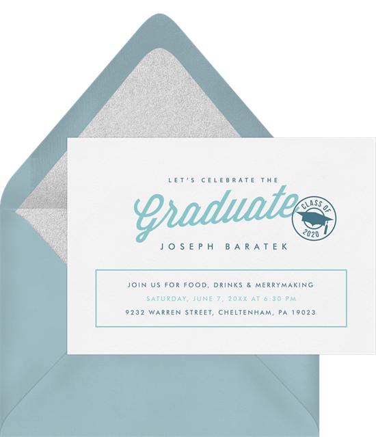 """Online graduation invitations with a """"class off"""" stamp and graduation hat"""