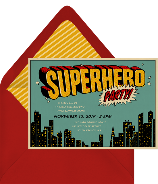 Birthday party ideas: an invitation for a superhero-themed birthday
