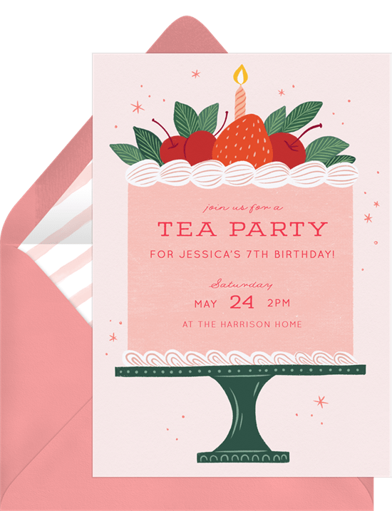 tea party ideas: Sweet Berry Cake Invitation from Greenvelope