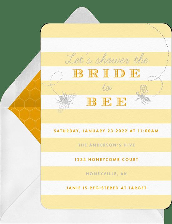 Bridal shower invitations: sweet honeybees invitations