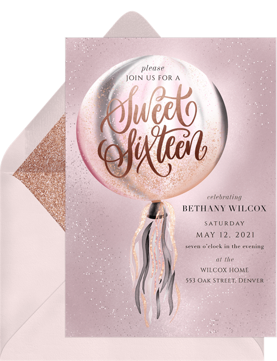 sweet 16th invitation wording: sweet 16 invitation in pink and silver