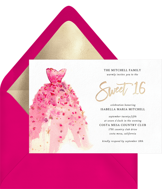 sweet 16th invitation wording: sweet 16 invitation with a pink dress