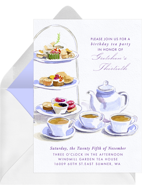 tea party ideas: Tea Party Invitation in purple from Greenvelope