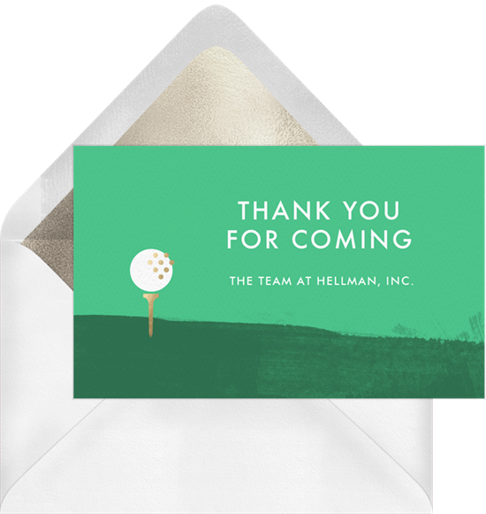"A ""Thank You for Coming"" card to send after an event"