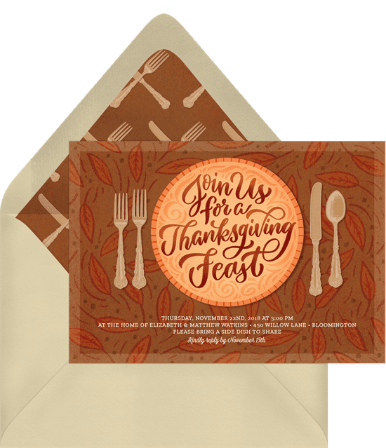 A Thanksgiving invitation with an illustrated pie