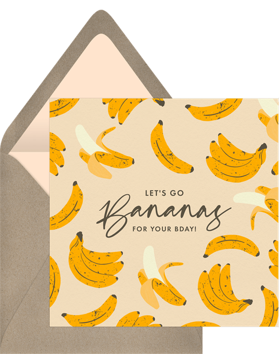 """A modern illustrated birthday card featuring dozens of a mod bananas. The text in the middle of the card reads, """"Let's go bananas for your bday!"""""""