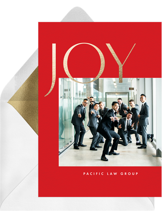 "Digital holiday cards with a photo surrounded by a red border and gold-foil ""JOY"""