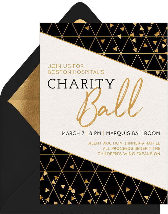 A corporate event invitation for a charity ball