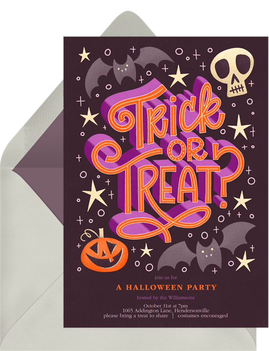 "Halloween party invitations with ""Trick or Treat"" typography"