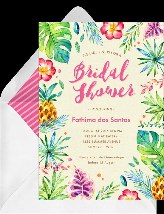 Bridal shower invitations: tropical shower invitations