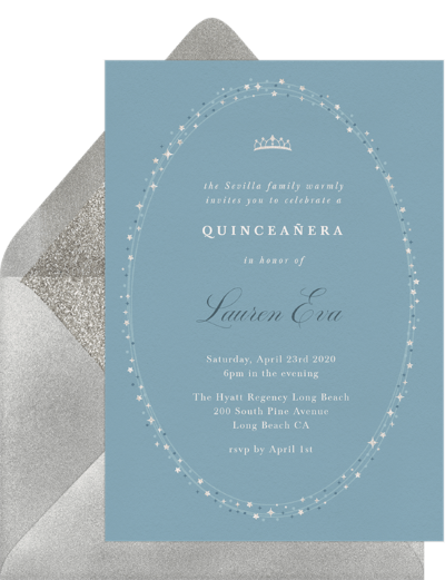 quinceanera gifts: Twinkly Tiara Invitation by Greenvelope