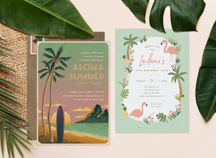 luau party: two different luau themed invitations from Greenvelope