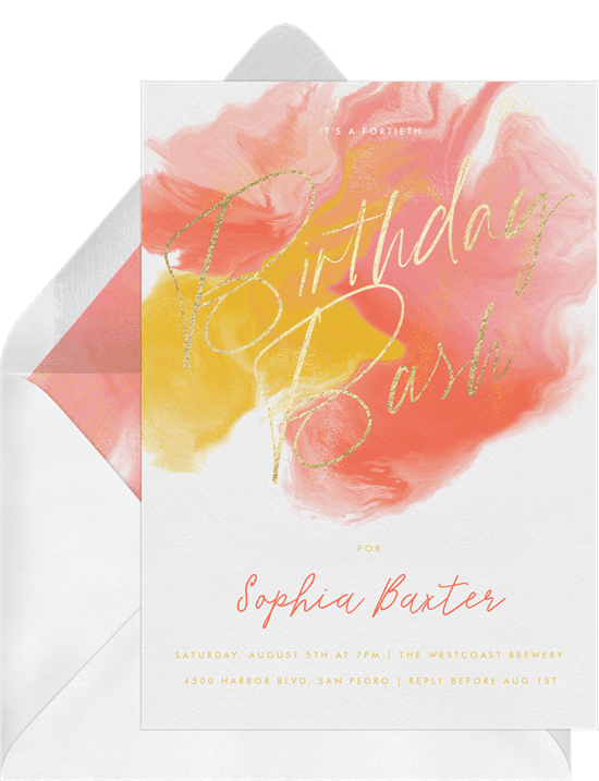 text message invitations: Two Tone Watercolor Invitation by Greenvelope