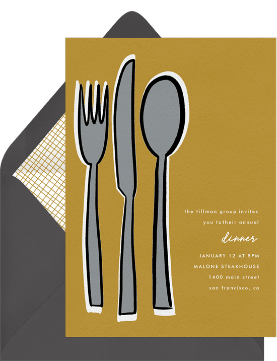 A corporate event invitation for a dinner party