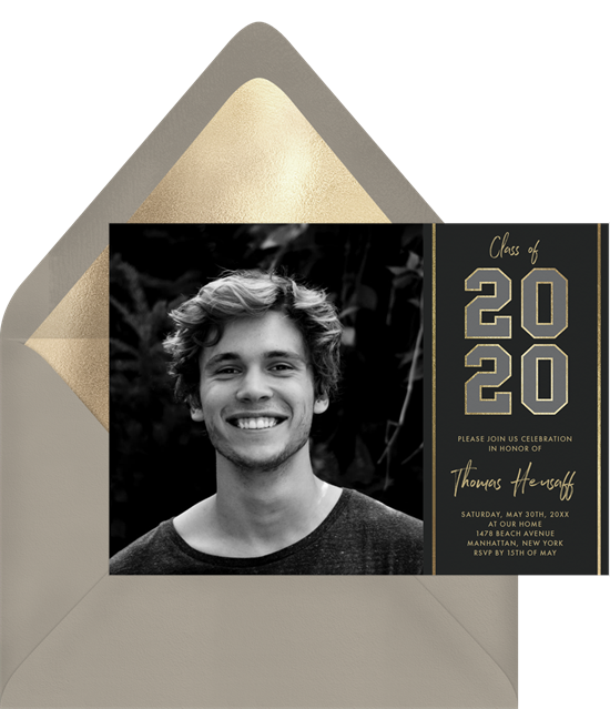 Classic varsity numbers online graduation invitations with a photo of the graduate
