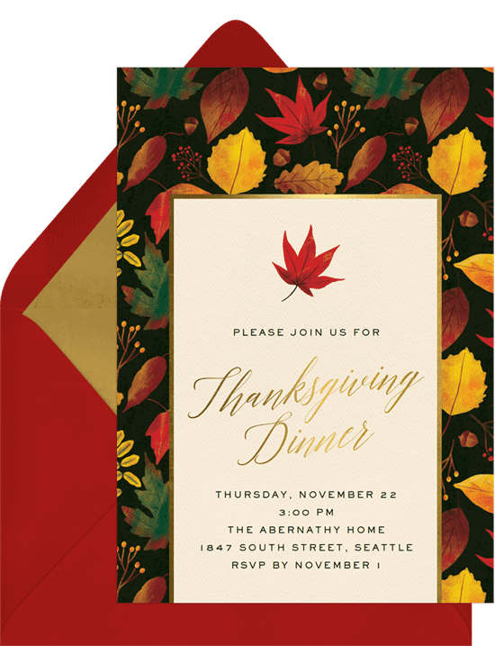 A classic Thanksgiving invitation with a border of vibrant autumn leaves