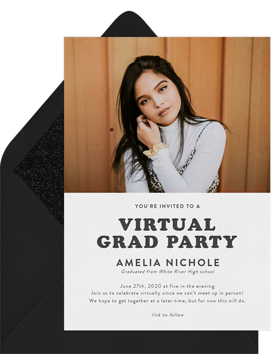 Online graduation invitations for a virtual party with a photo of the grad