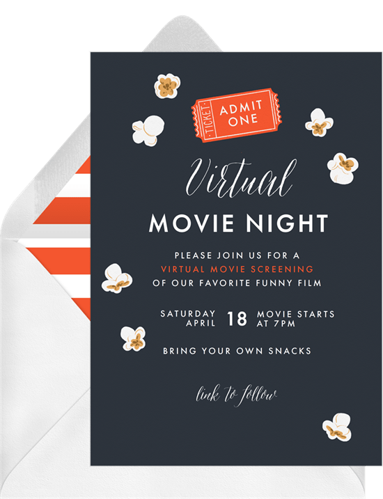 movie night invites: virtual movie night invitation from Greenvelope