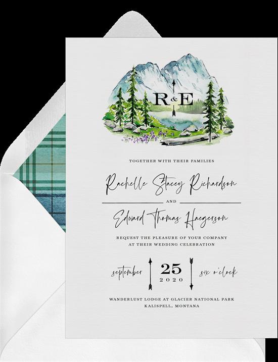 alpine lake wedding invitation from Greenvelope