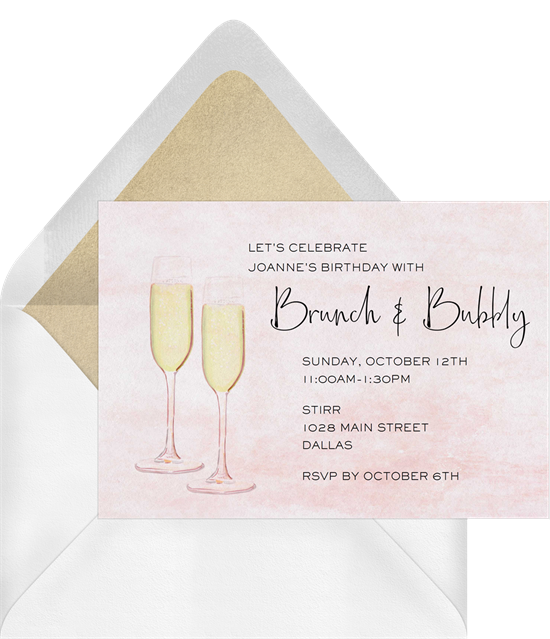 Things to do on your birthday: A brunch and bubbly party invitation