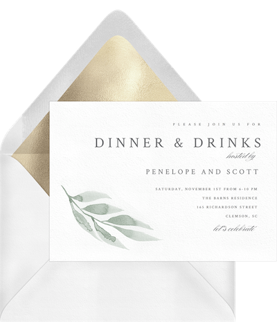 all white party: Watercolor Leaf Invitation by Greenvelope