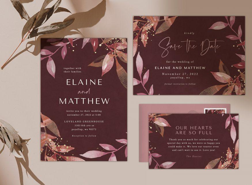 wedding invitation sets by Greenvelope