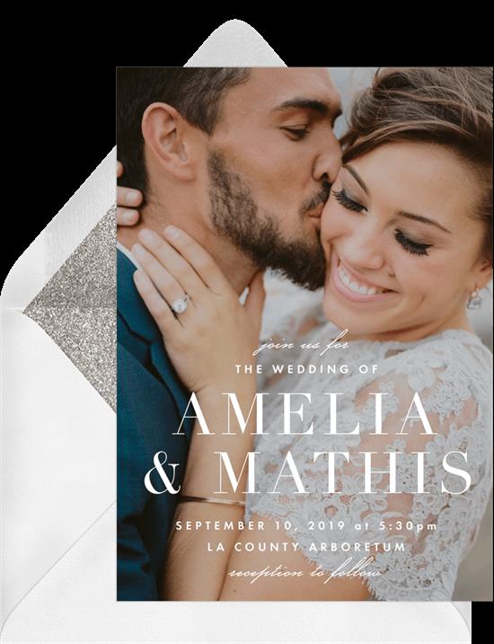 elegant overlay wedding invitation from Greenvelope