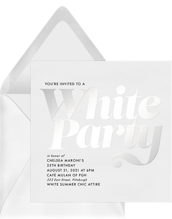 Labor Day party idea: White Summer Chic Invitation from Greenvelope