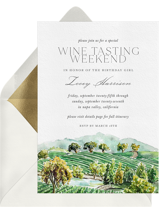 Things to do on your birthday: An invitation for a wine tasting party