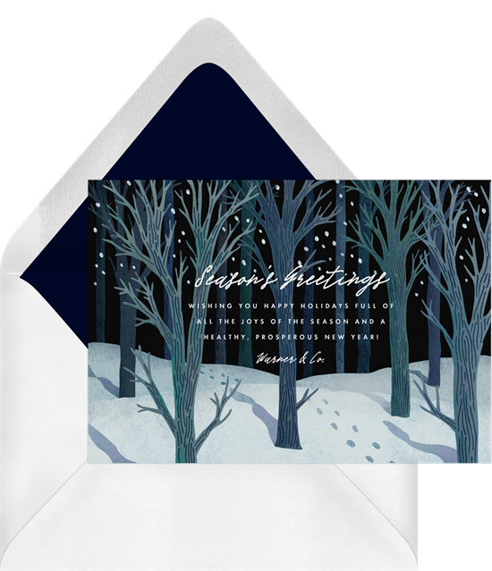 Digital holiday cards with a graphic winter woods design
