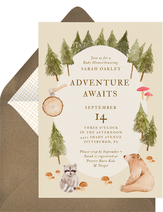 Baby shower ideas: A watercolor forest animals invitation for a woodland-themed shower