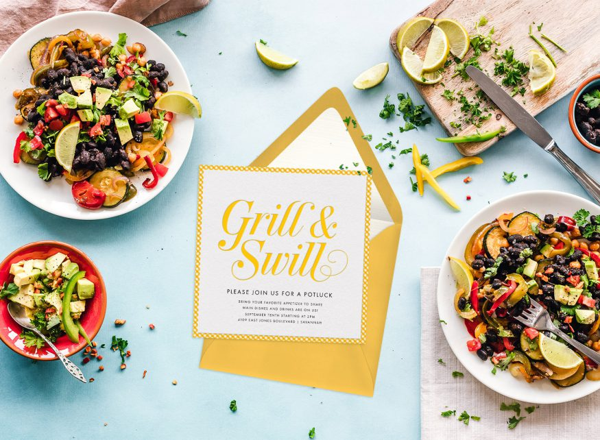 potluck invitation: Grill & Swill invitation surrounded by food