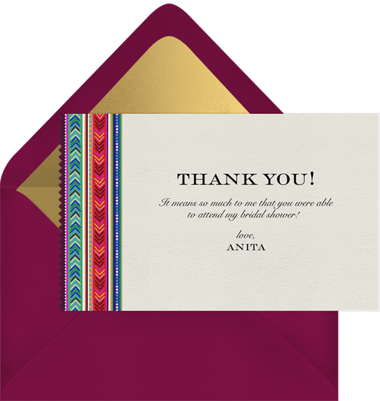 andes chevron thank you note in pink