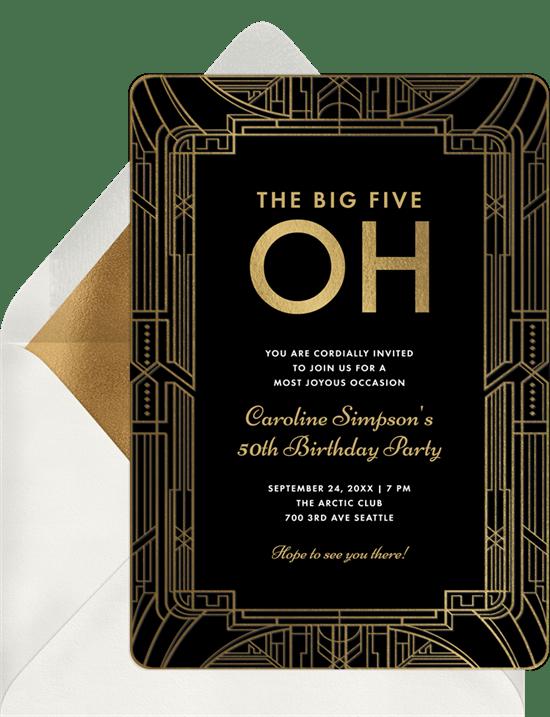 art deco milestone invitations greenvelope com