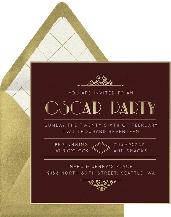 Art Deco Oscar Party Invitations Greenvelopecom