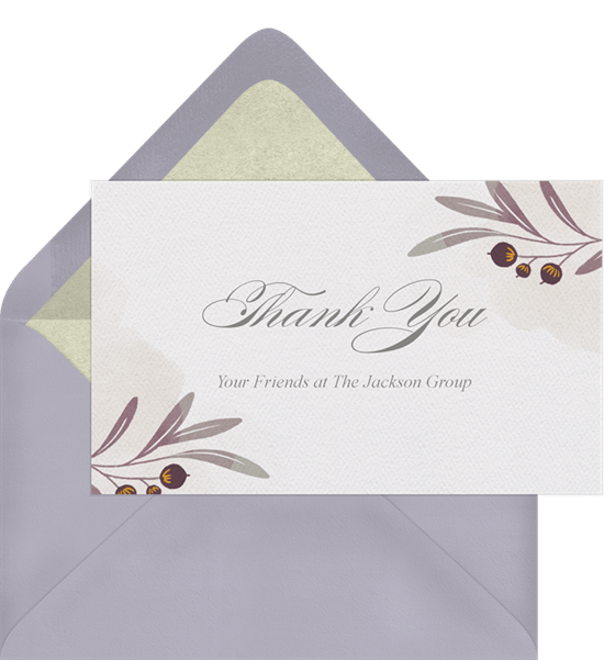 autumn branches thank you note in white - Real Estate Thank You Notes Card