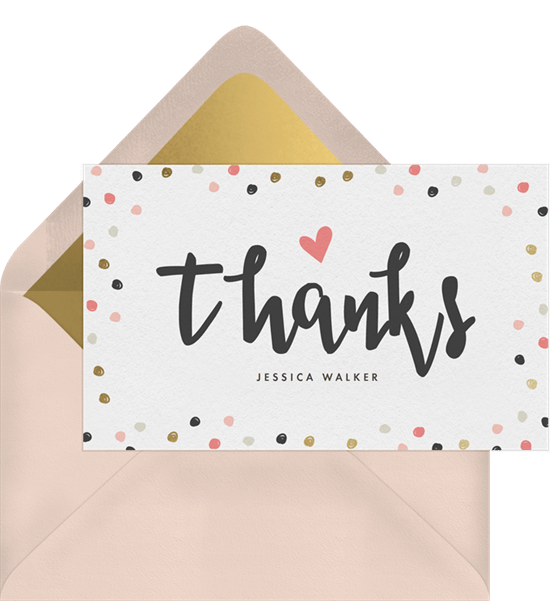 baby confetti thank you notes in pink greenvelope com