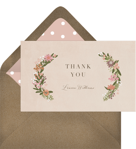 baby flowers thank you note